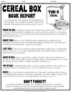 Cereal Box Book Report: Directions, Rubric U0026 Example Photos