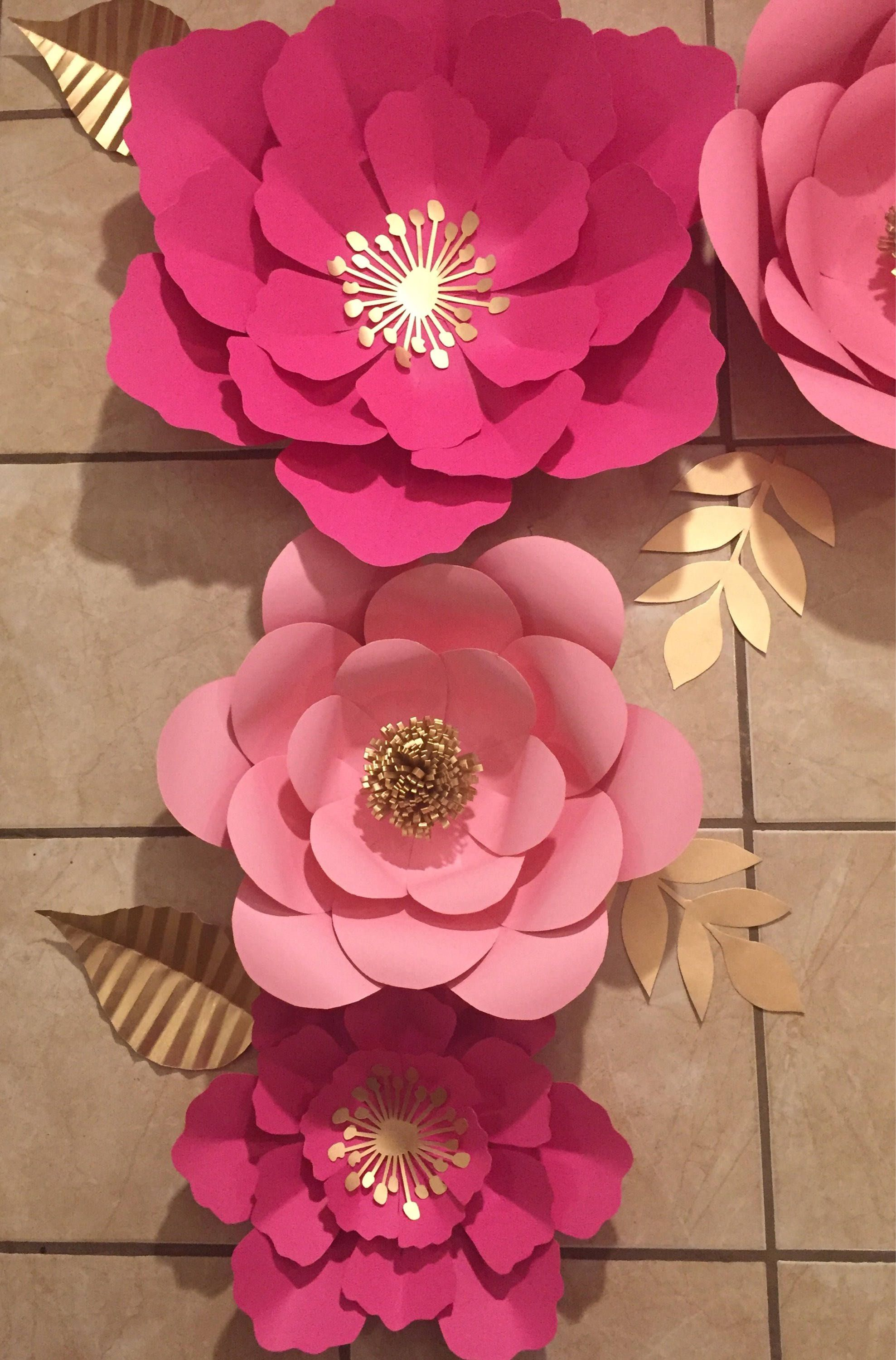 7pc Pink Giant And Gold Paper Flower Backdrop Party Decor Paper