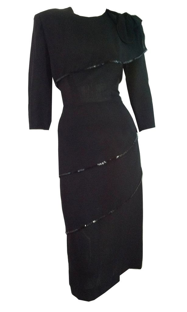 Evening Glamour Black Sequin Trimmed Cocktail Dress circa 1940s