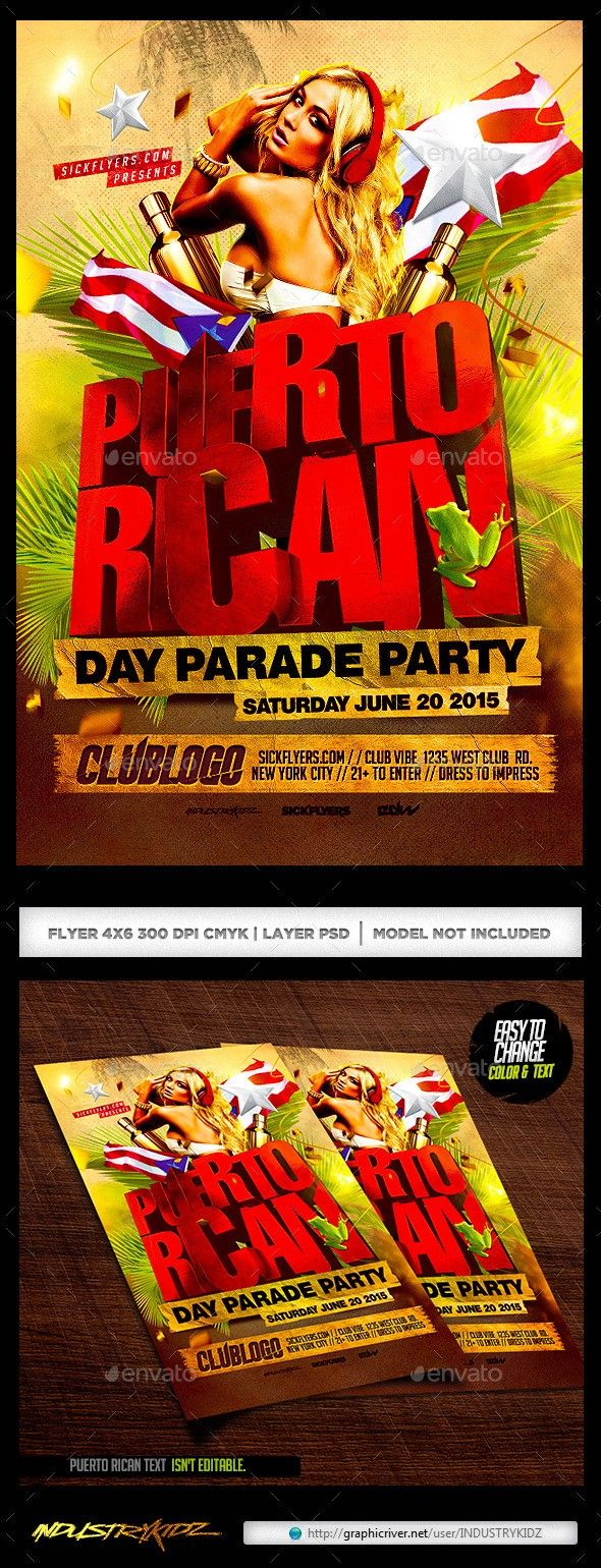 after party chicago club psd cuban day parade flyer template