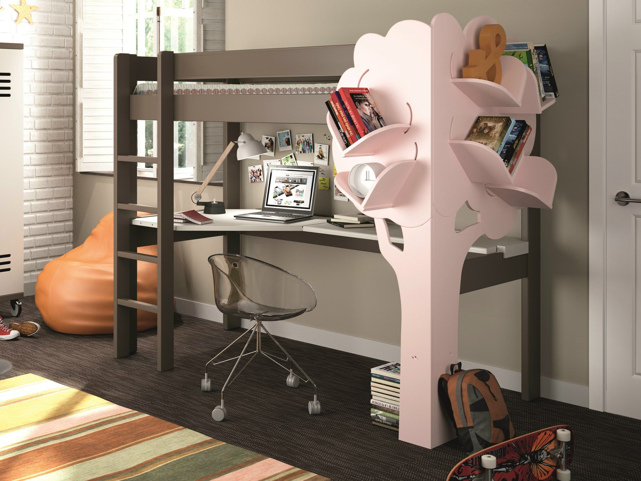 Treehouse loft bed with slide  Kids Playhouse Beds from Mathy by Bols Loft Treehouse Canopy