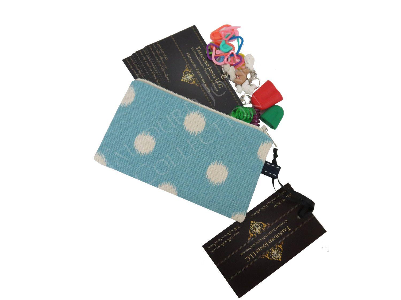 Light blue ikat polka dot knitting notions case zipper mini coin light blue ikat polka dot knitting notions case zipper mini coin wallet business card credit card store card bank card sleeve magicingreecefo Image collections