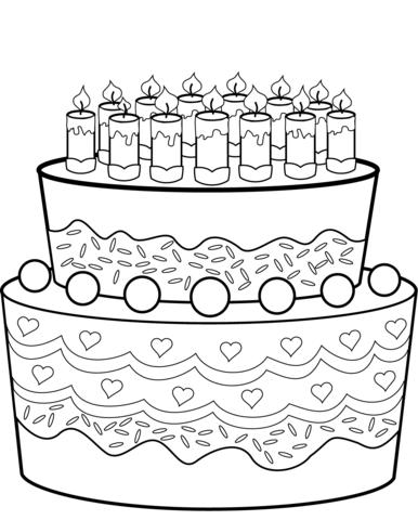 Geburtstagstorte Ausmalbild