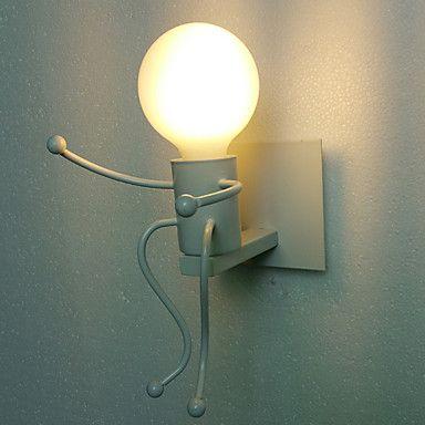 Black Little Boy Modern Led Wall Lamp For Living Dinning Room Edison Wall Light Fixtures Wrought Iron Arandela Wall Lamp Led Wall Lamp Wall Lights