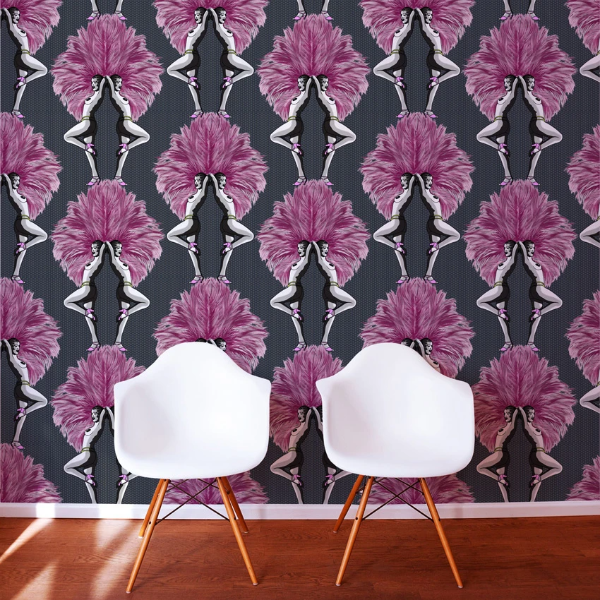 Photo of Showgirls Wallpaper – Pink & Black – Graduate Collection