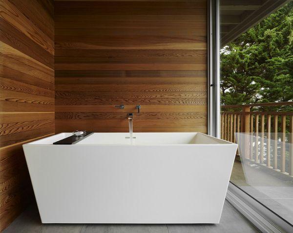 Modern Wood Wall modern-bathtub-wood-wall