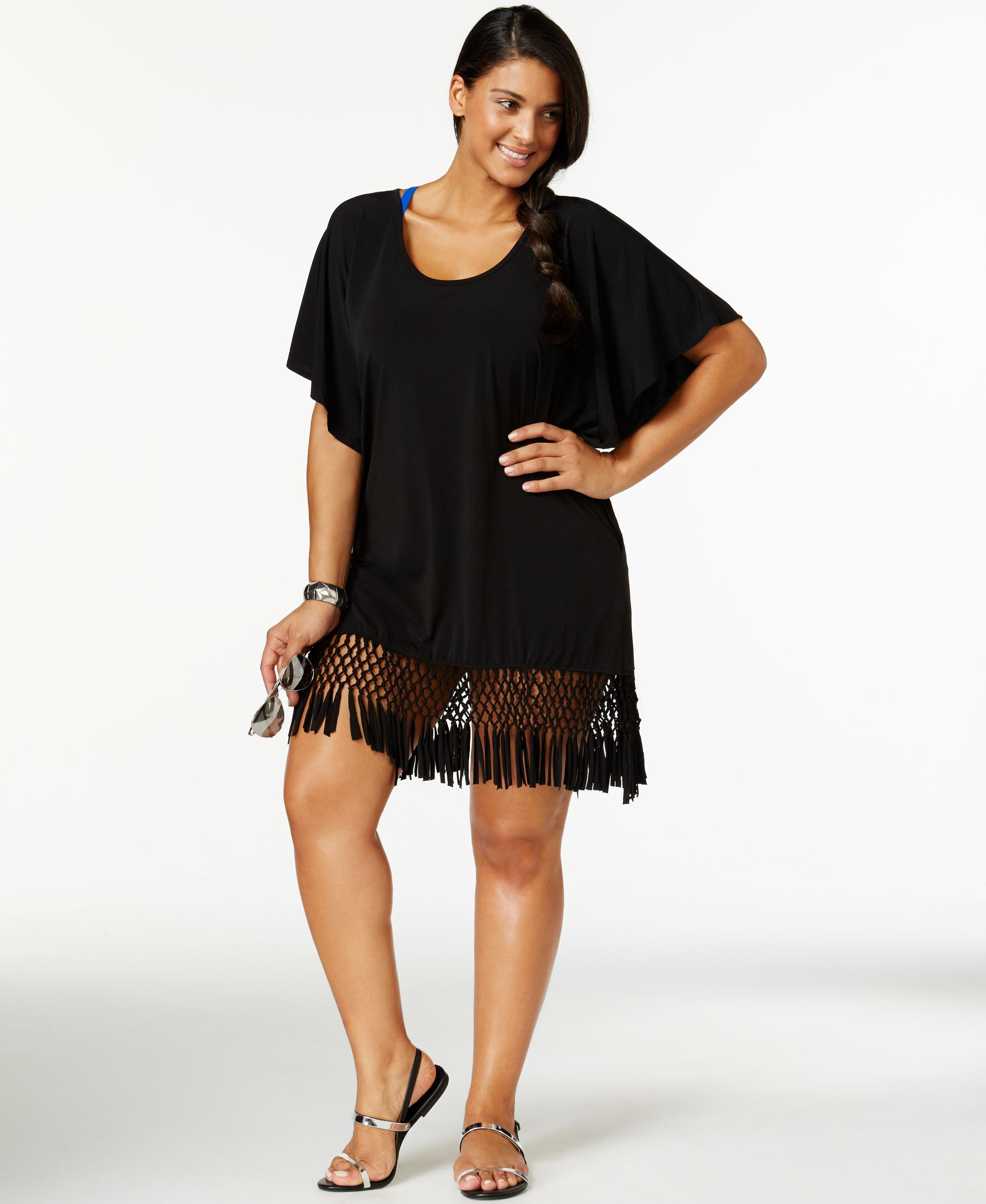 0488fba8d0 Dotti Plus Size Macrame Fringe Cover-Up | Products | Moda