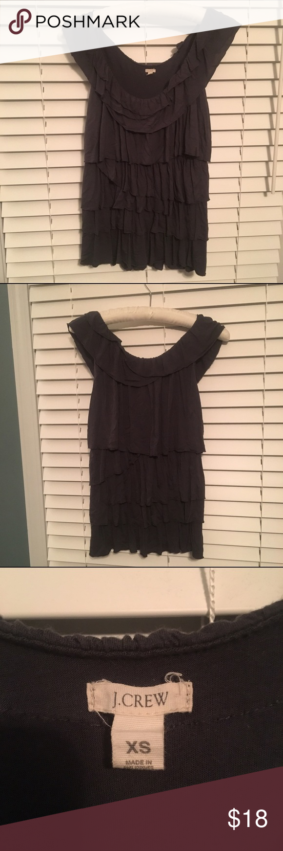 J CREW: Ruffled Tank Top Charcoal-gray tank top with cute ruffle detail throughout. Stretchy, super comfortable material! Also available in Cream. J. Crew Tops Blouses