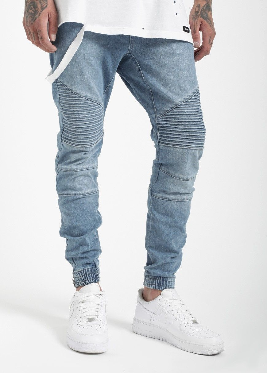 6673b065 Source OEM Custom Biker denim jogger pant blue wash man denim biker ...