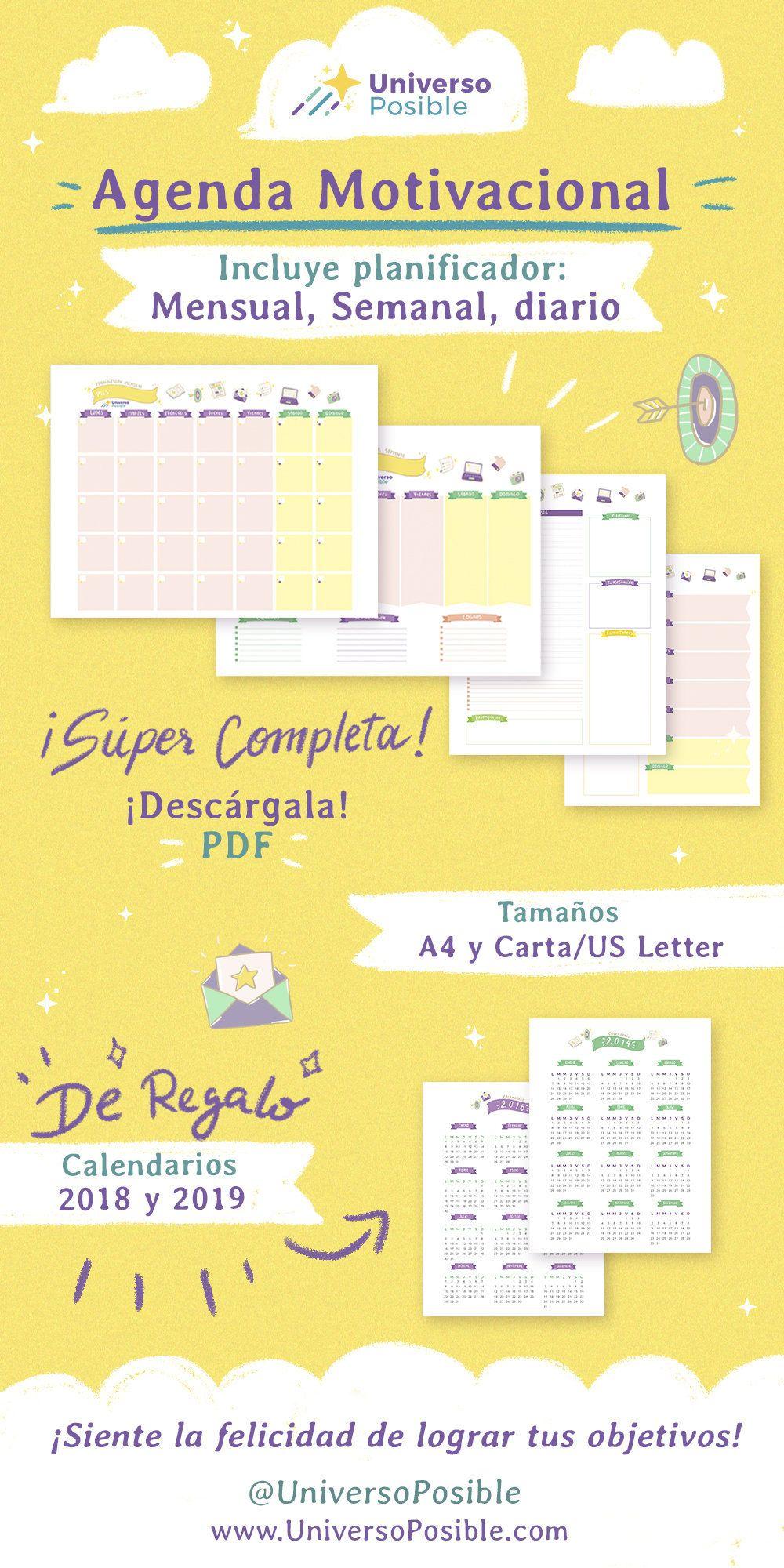 Calendario Diario Para Imprimir 2019.Agenda Para Imprimir Que Incluye Planificador Mensual
