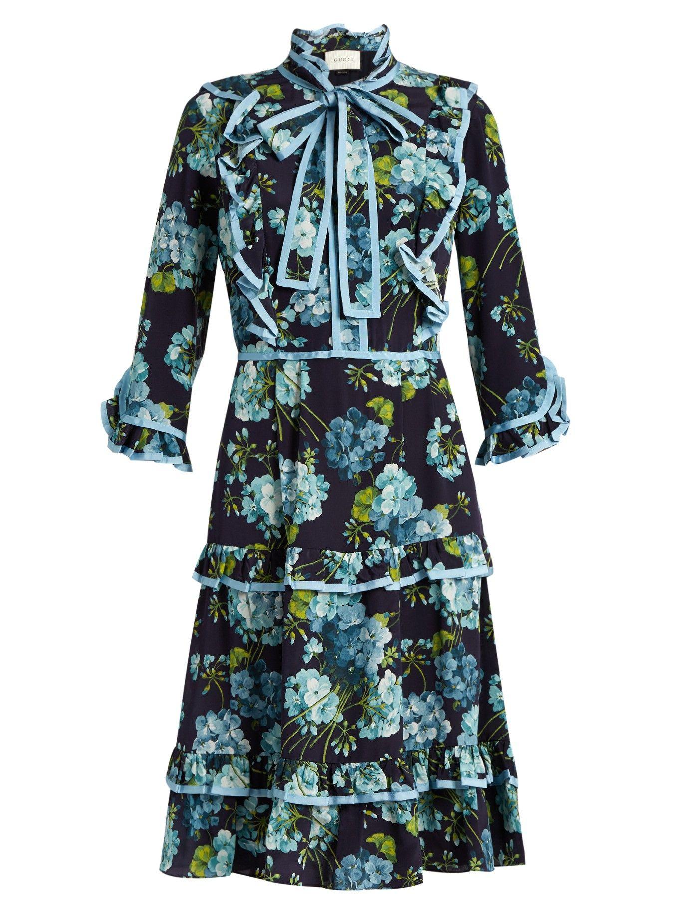 72631a90e0a65c Blooms-print crepe de Chine dress