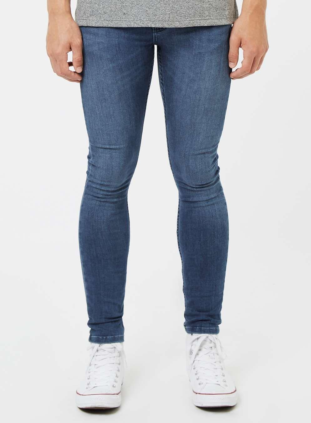Topman Super Spray On Skinny Jeans Blue Mensjeans Mens Jeans