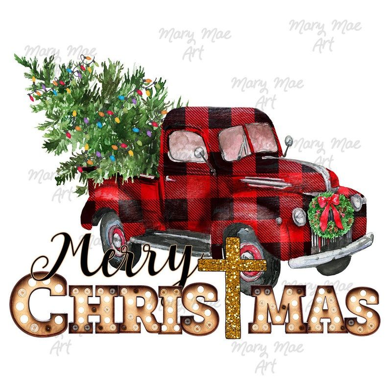 Merry Christmas Vintage Plaid Truck Sublimation Transfer Ready To Press In 2021 Merry Christmas Vintage Christmas Red Truck Vintage Christmas