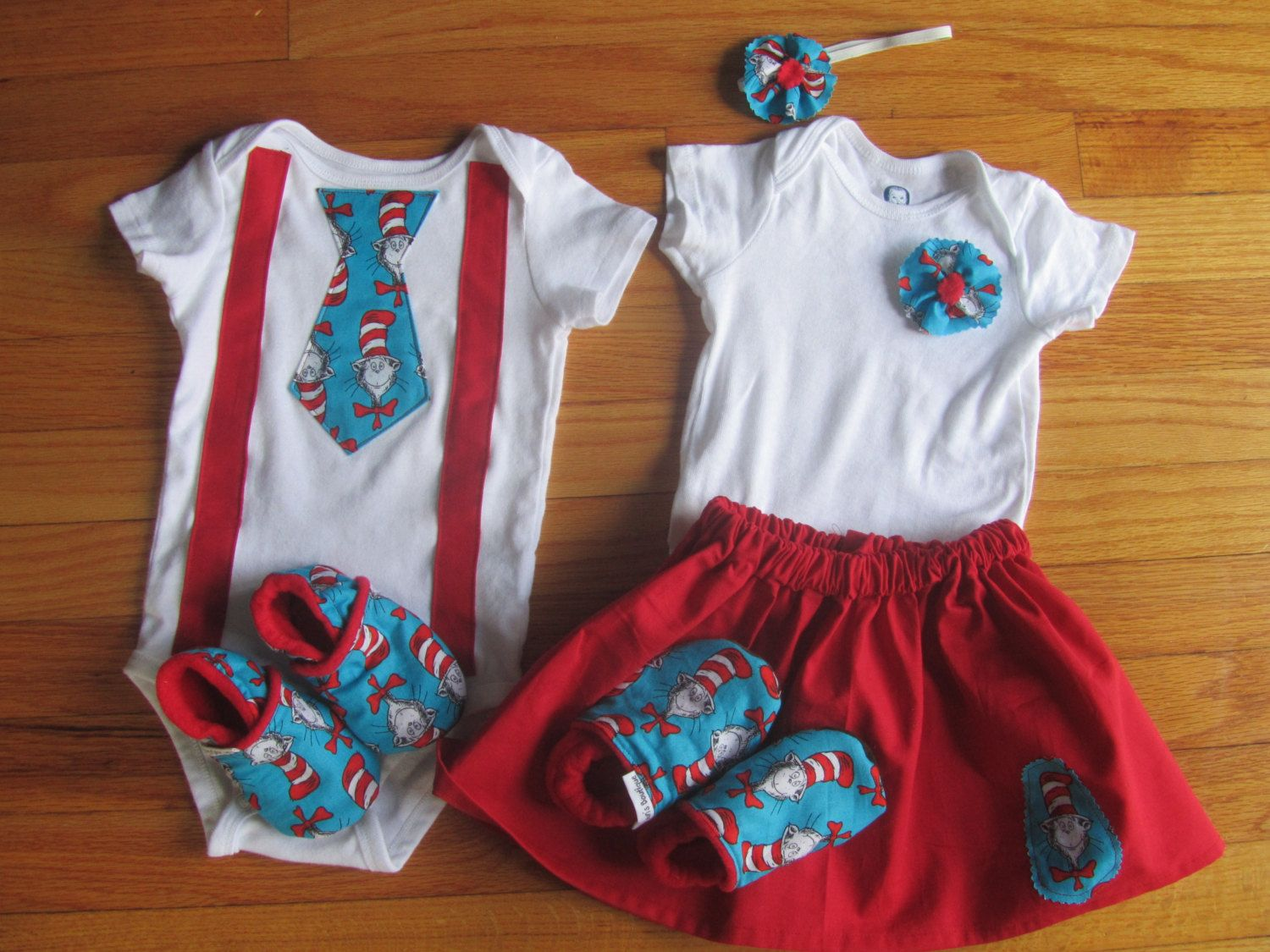 Twin First Birthday Dr. Suess Matching Onesie Outfits