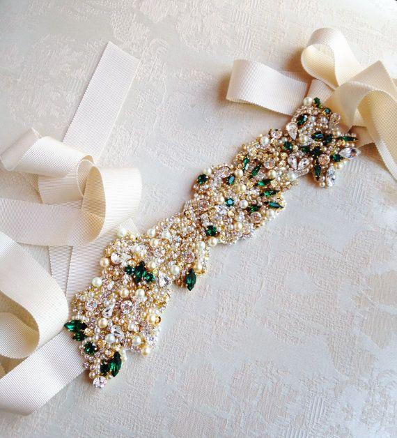aebed100f7 Gold and Emerald Green Bridal Belt- Vintage Wedding- Swarovski ...
