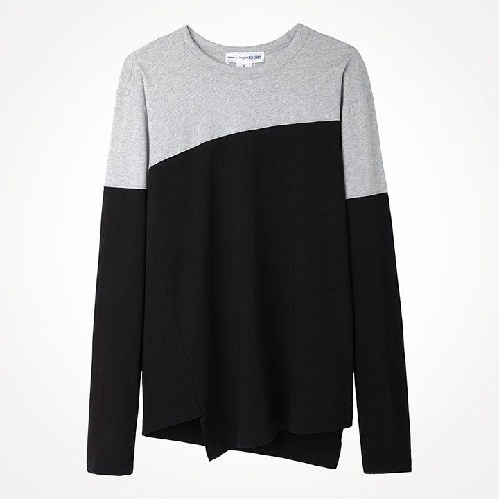 Comme des Garçons Shirt Man / Colorblocked Longsleeve T-Shirt