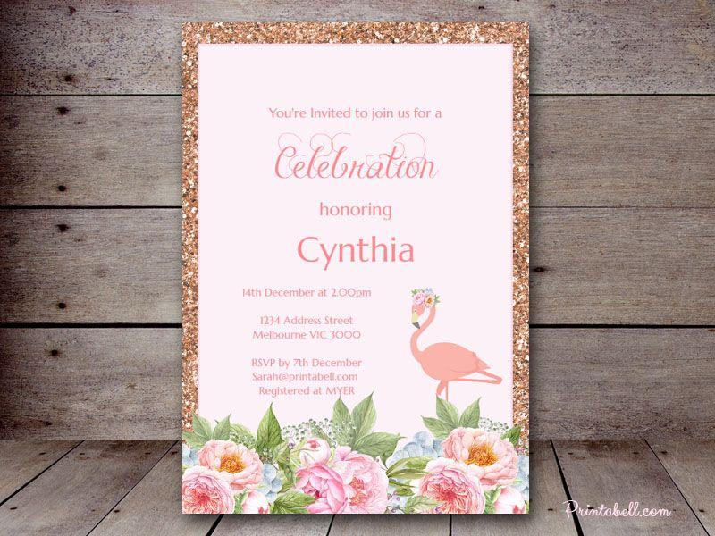 editable 5x7 Flamingo Invite BS130m Bridal Shower Invitations