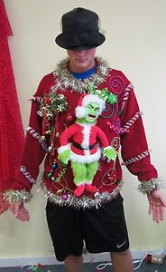 light up talking grinch ugly christmas sweater jumper mens xlt womens ebay - Grinch Ugly Christmas Sweater