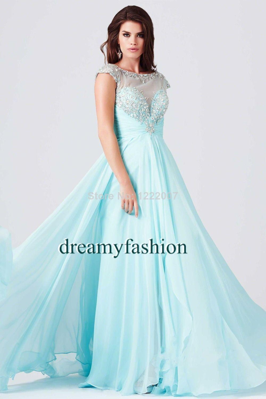 Vestidos de fiesta Sheer Blue Pink Long Chiffon Modest Prom Dresses ...