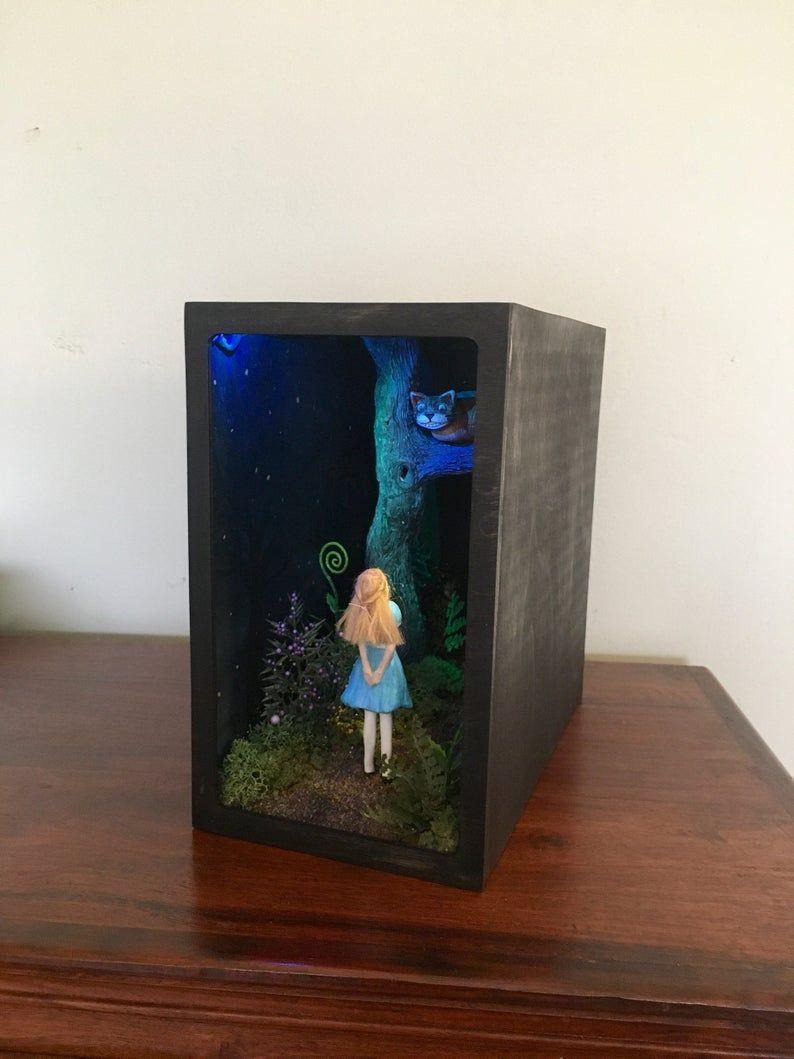Lit Alice In Wonderland Book Nook Diorama Bookshelf Shadow Box Alice In Wonderland Book Book Nooks Alice In Wonderland
