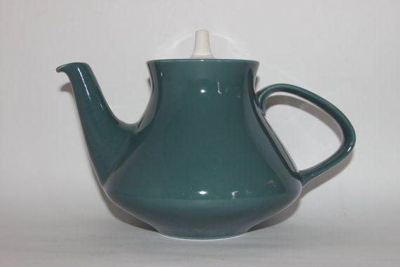 Mid century Poole Pottery teapot Contour celadon green grey sage white 1950s 1960s retro tableware & Mid century Poole Pottery teapot Contour celadon green grey sage ...