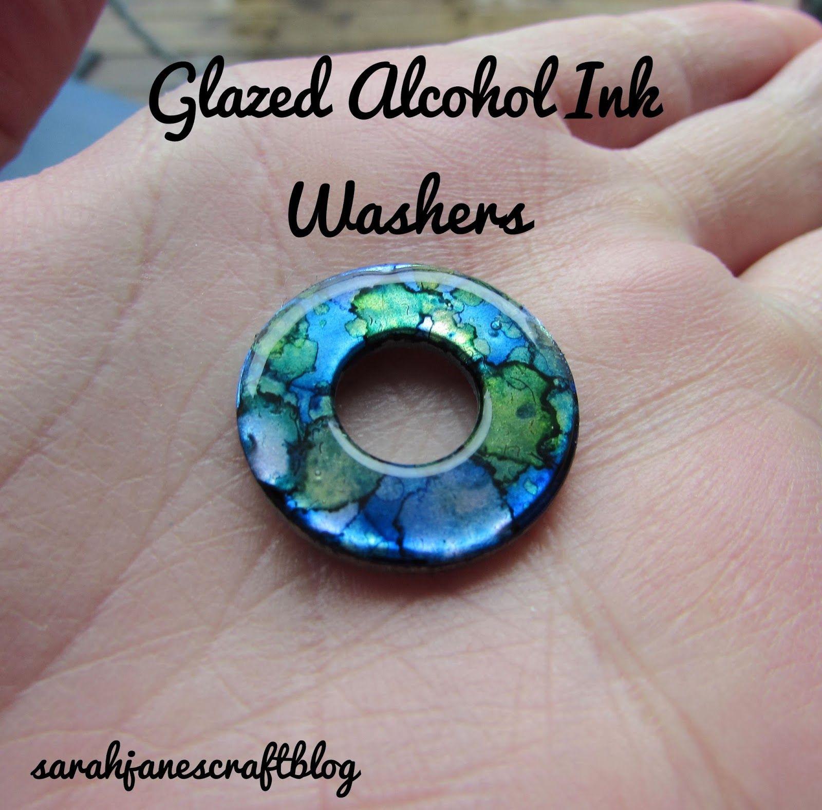 Glazed Alcohol Ink Washers #alcoholinkcrafts