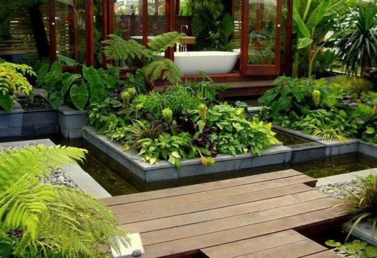 Jardin estilo japones plantas agua madera cool ideas for Jardin japones piscina