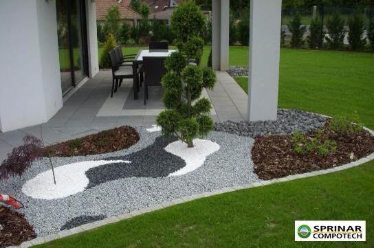 Jardin Sec Gris Amenagement Jardin Amenagement Paysager Devant Maison Jardins