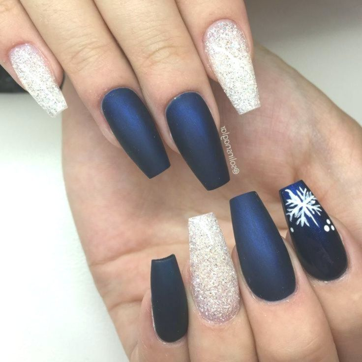 Christmas Acrylic Nails Grey: Matte Midnight Blue + Diamond Glitter + Snowflakes Long
