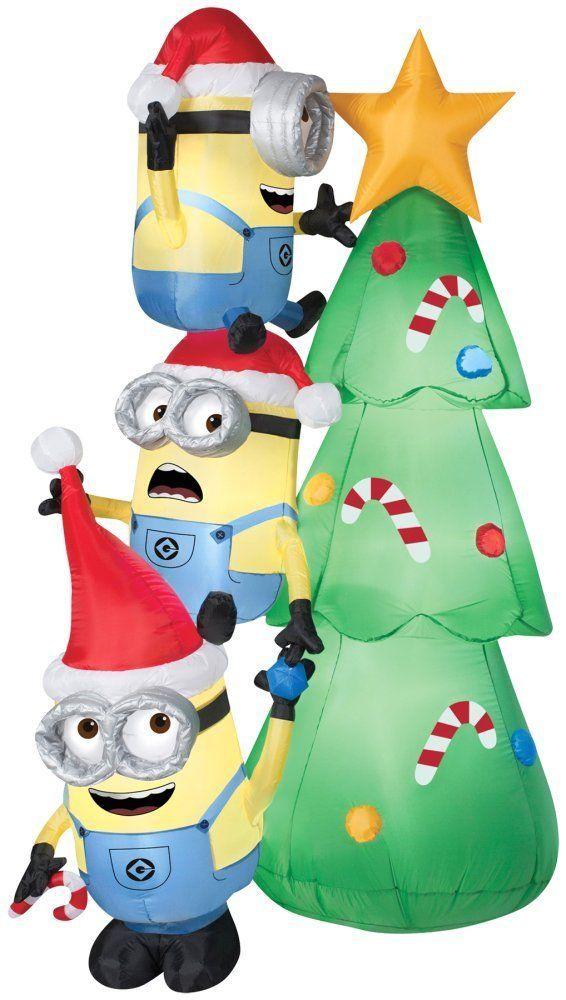 Holiday Yard Decor! Airblown Minions Decorating A Christmas Tree 6' Tall - Holiday Yard Decor! Airblown Minions Decorating A Christmas Tree 6