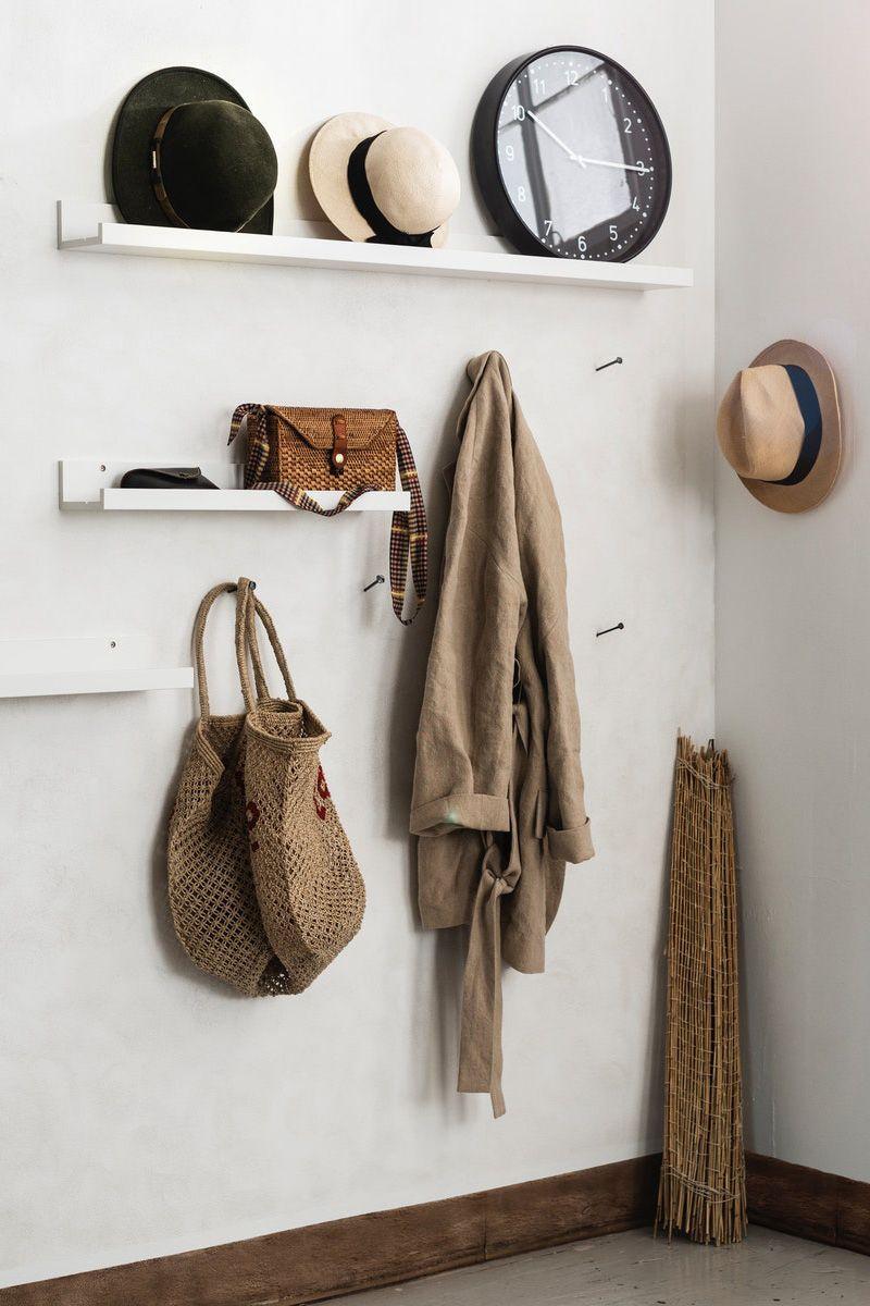 Garderobe mit Hutablage aus MOSSLANDA Bilderleiste, weiß
