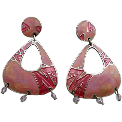 Perfectly Pink Enamel Vintage Edgar Berebi Earrings Summer Sweet