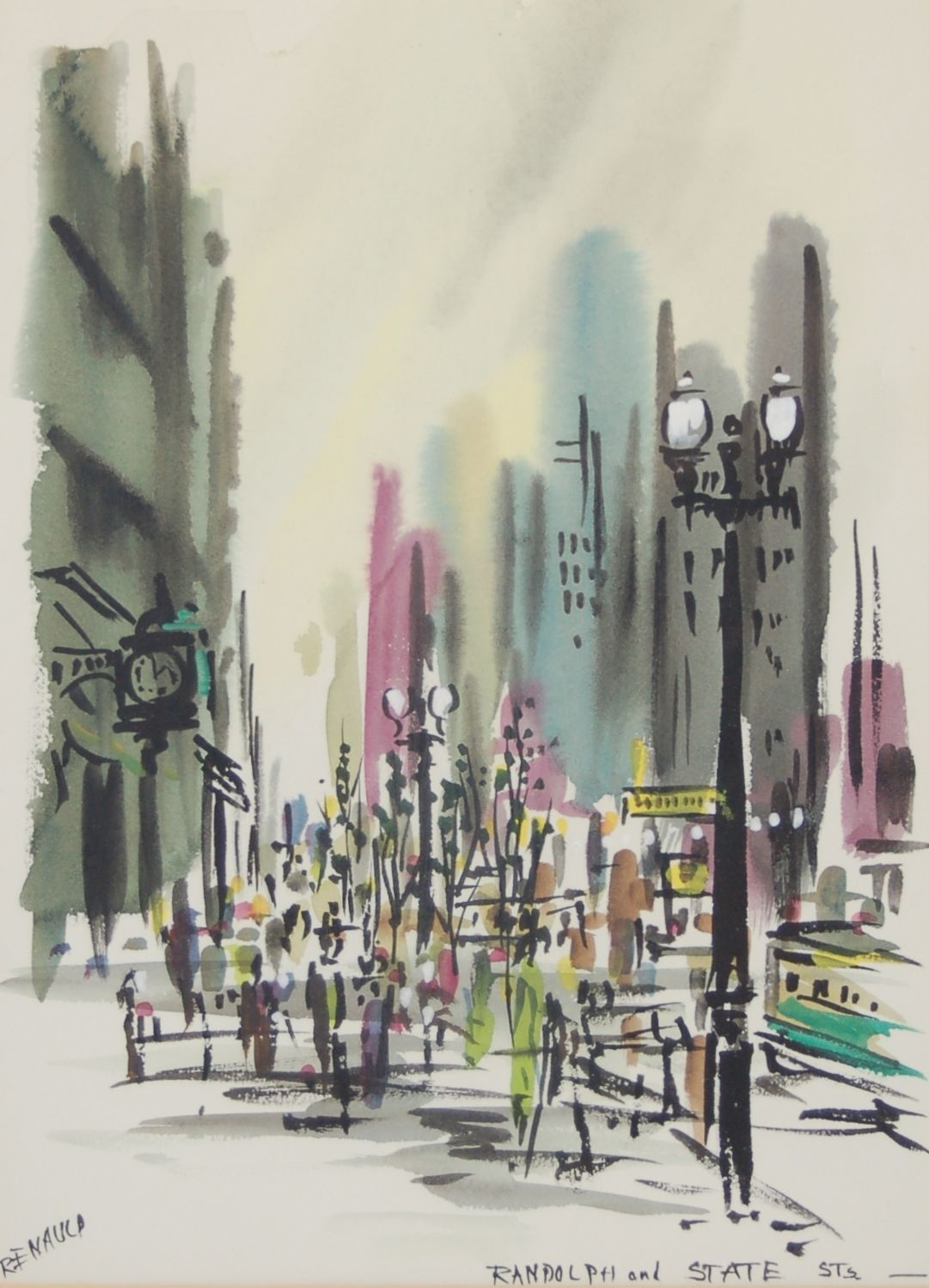 Mid Century Watercolor Painting State Randolph Chicago