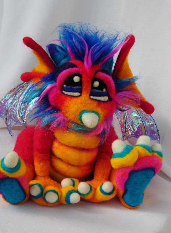Items similar to OOAK Pinkberry Needle Felted Dragon Fantasy Soft Sculpture Plush Wool Art Doll RESERVED on Etsy