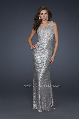 I lov the lace on top! La Femme -Syle #17512 - Antique Silver - Sequin Gown