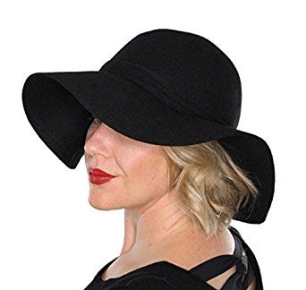 Genevive Floppy Wool Hat with Bow Wide Brim Vintage Flapper Tea Party Derby Church (Black) at Amazon Women's Clothing store: