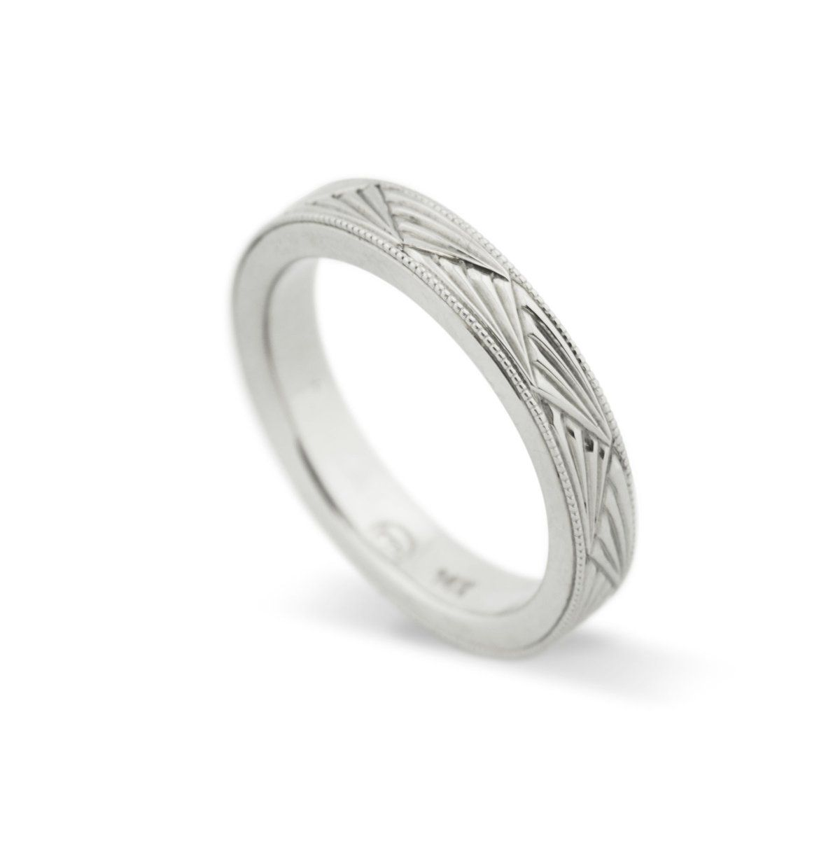Handcrafted Art Deco Style Wedding Ring Hand Engraved Fan Pattern Millgrain Edges Custom Desi Hand Engraved Rings Vintage Style Wedding Rings Gold Art Deco