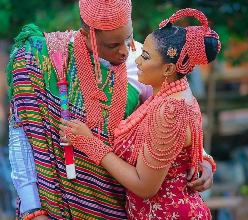African couple coral necklaceigbo wedding beadAfrican coral   Etsy in 2020    Traditional wedding attire, Bride accessories, Igbo traditional wedding