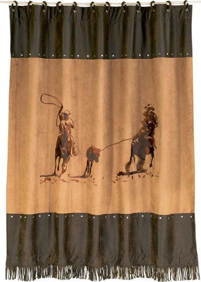 Team Roper Shower Curtain With Coordinating Rings Western