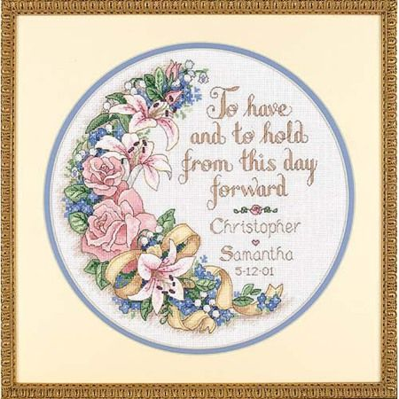 dimensions to have and to hold wedding record cross stitch kit the happy couple