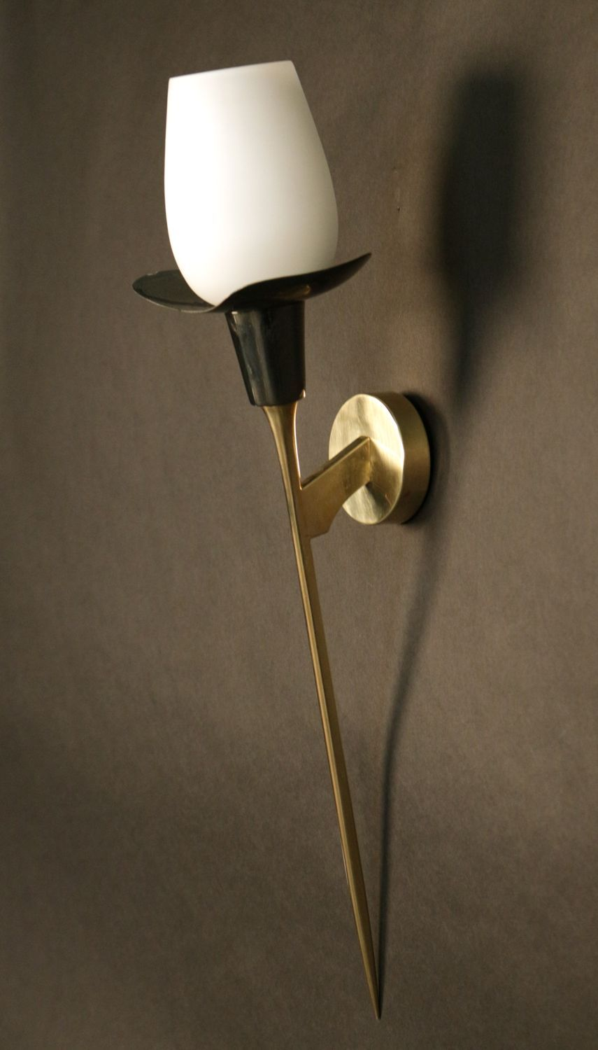 Anonymous Brass Enamel And Glass Wall Light By Lunel 1950s Sconces Hanging Light Lamp Glass Wall Lights