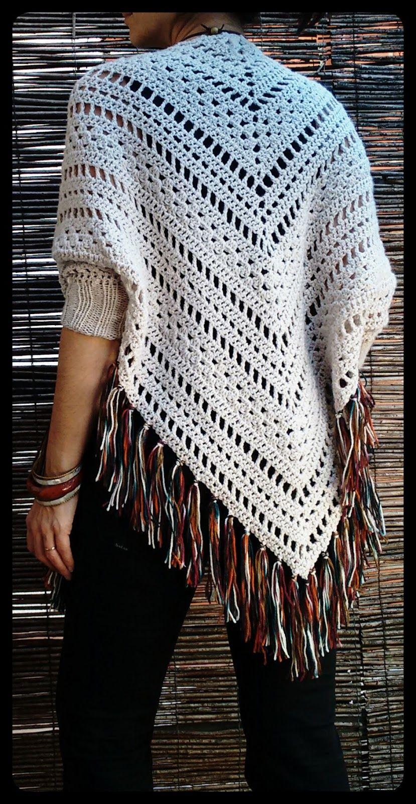 Crochet shawl with sleeves and fringe | Iara | Pinterest ...