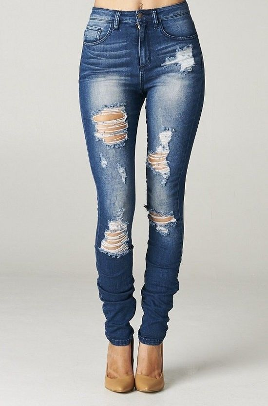 Details about High Rise Destroyed Skinny Jeans Ripped Womens Dark ...