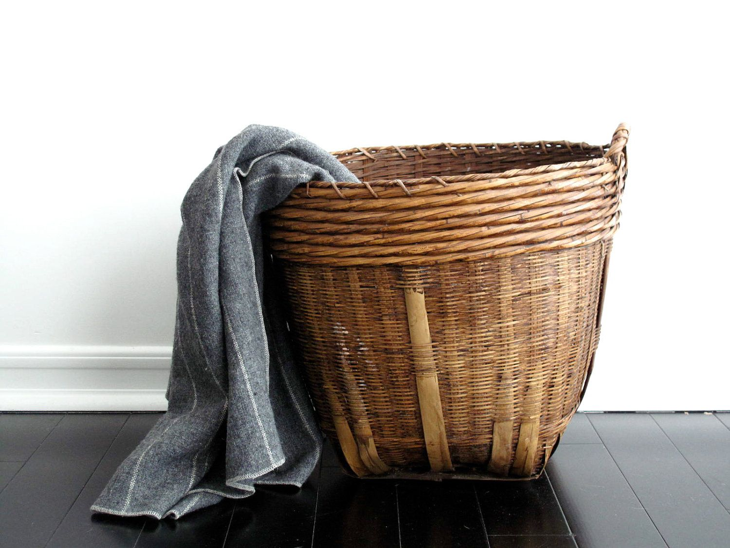 For Extra Blankets Large Woven Basket Vintage With Handles By Snapshotvintage