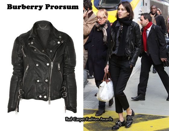 3e42d44a137 Alexa Chung in a Burberry Prorsum quilted leather biker jacket,  Net-A-Porter US $3,595