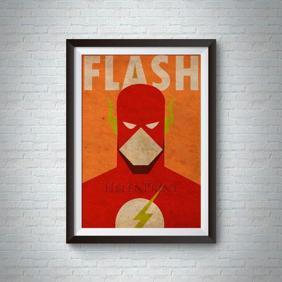 Flash Minimalist Vintage Poster, Superheroes Minimalist Poster, Comics Posters