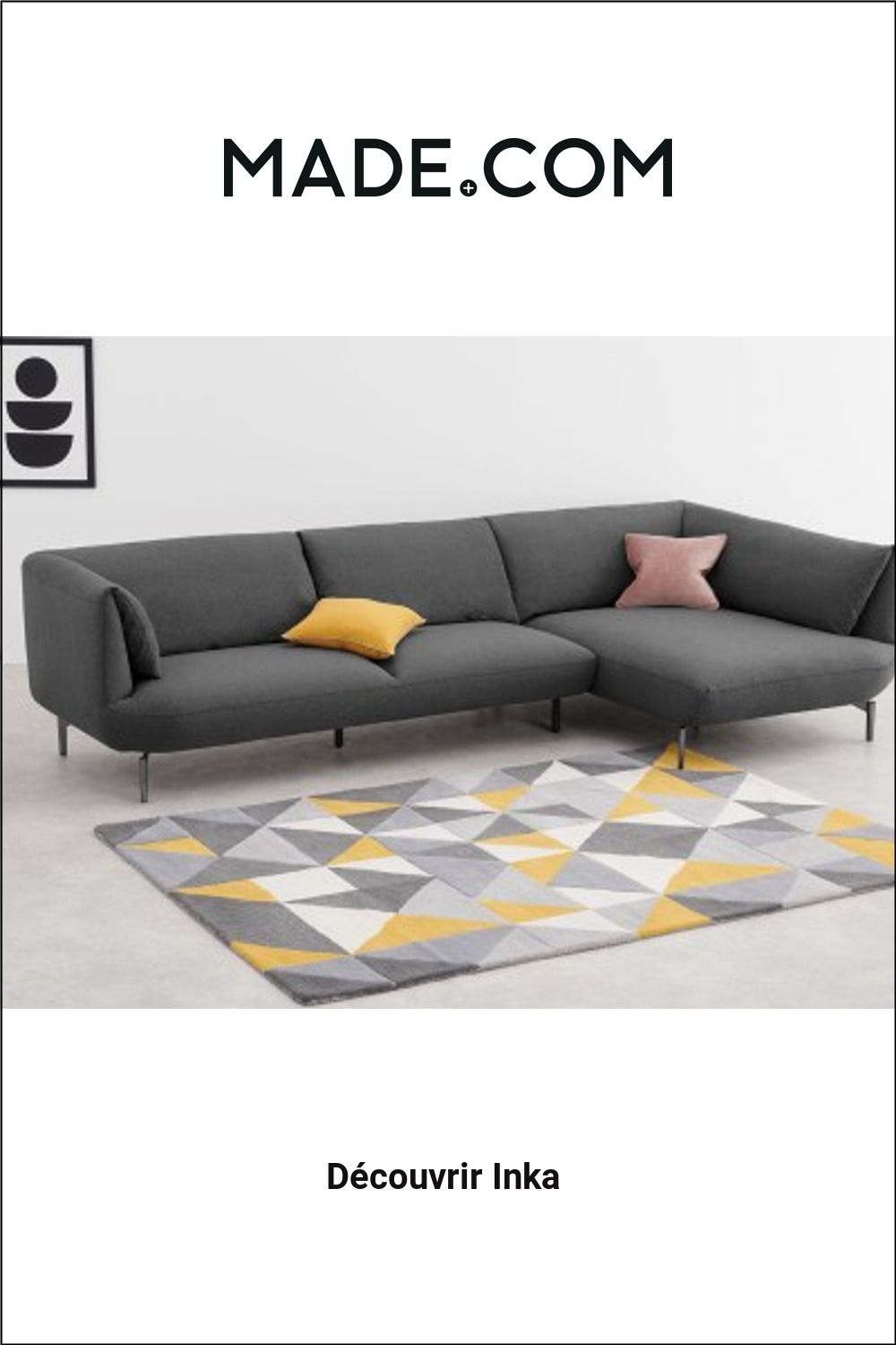 Made Com Canapes 3 Places Gris Sofa Furniture Couch