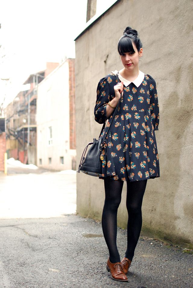 Perfect floral dress and oxfords.