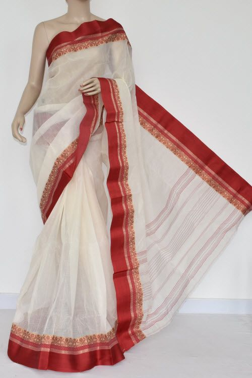 f2b5bc66dd Off White Handwoven Bengal Tant Cotton Saree (Without Blouse) Red Border  14244