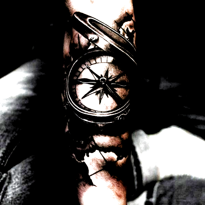 As the member of steampunk or biomechanical tattoo family, compass tattoo is appealing for its varie